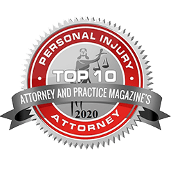 2020 Attorney and Practice Magazine's Top 10 Personal Injury Attorney Badge